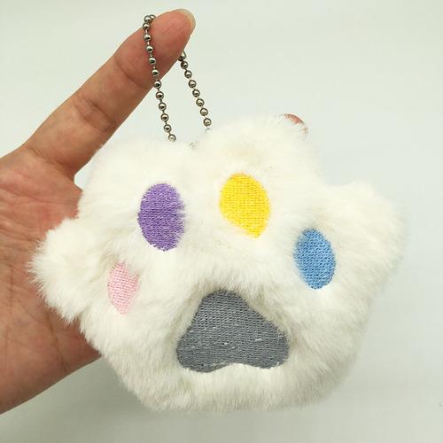 Мягкий брелок Кошачья лапка (белая)