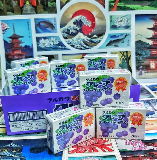 Жевательная резинка Marukawa виноград (6 шариков)
