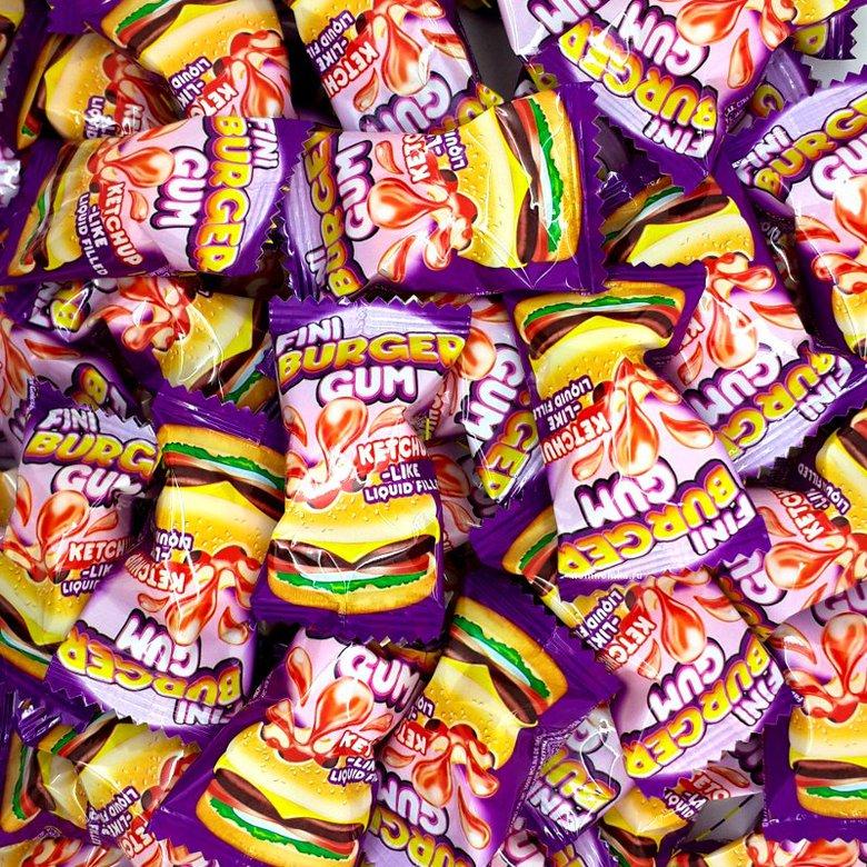 """Жевательная резинка """"Fini"""", гамбургер с вишнево-клубничным наполнителем"""