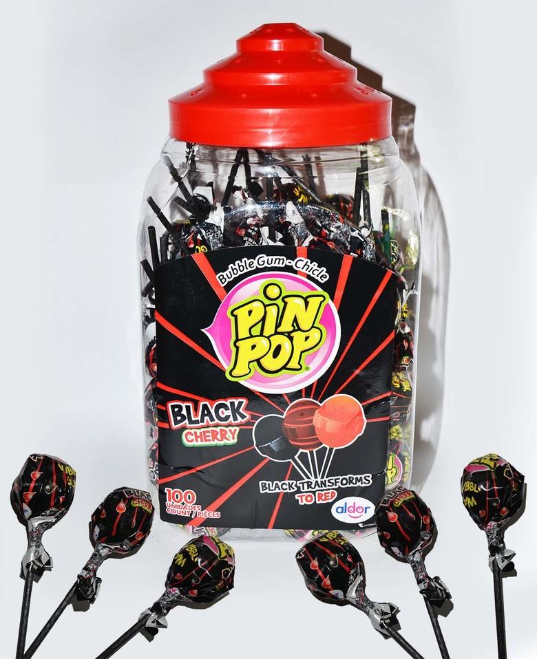 Карамель Aldor pin pop со вкусом черной вишни