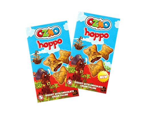 Бисквитное печенье Ozmo Hoppo с начинкой из шоколадного крема