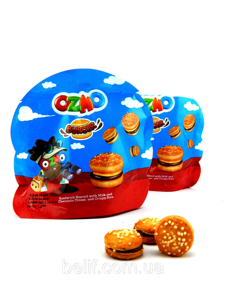 Печенье-сэндвич Ozmo Burger с молочно-шоколадным кремом и хрустящим рисом