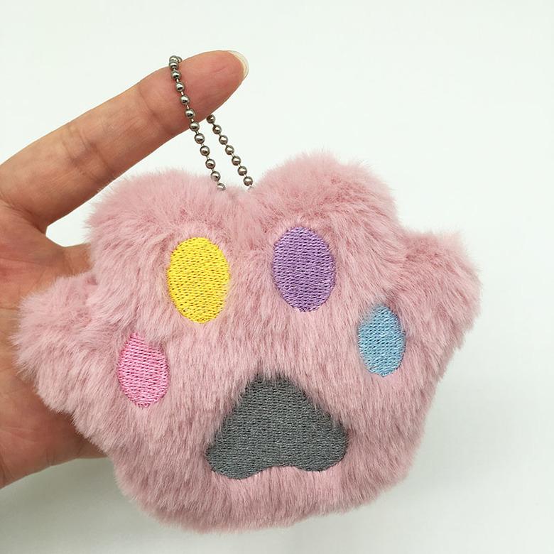 Мягкий брелок Кошачья лапка (розовая)