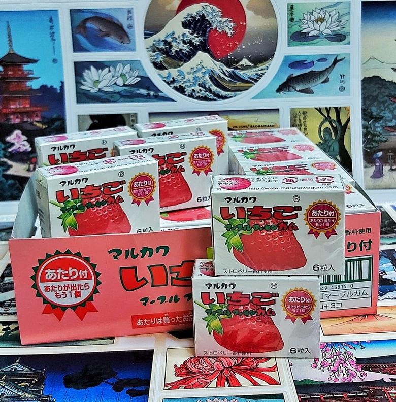 Жевательная резинка Marukawa клубника (6 шариков)